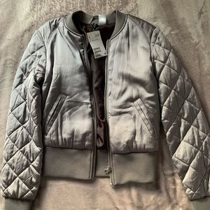 Quilted Gray Bomber Jacket